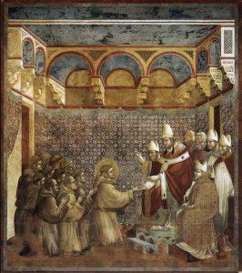 San Francesco viene ricevuto da Papa Innocenzo III. Affresco di Giotto.