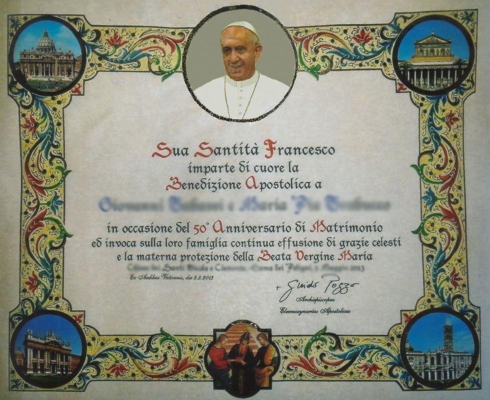 Auguri Matrimonio Papa Francesco : Come richiedere la benedizione apostolica su pergamena