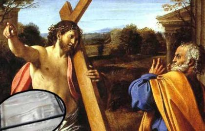 La Santa Pietra con incise le impronte di Cristo