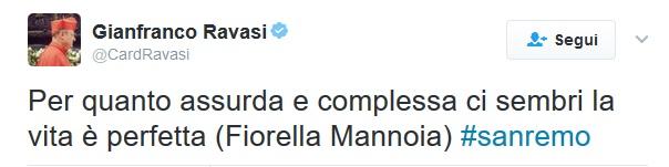"""Il Cardinale Ravasi apprezza """"Che sia Benedetta"""" di Fiorella Mannoia a Sanremo"""