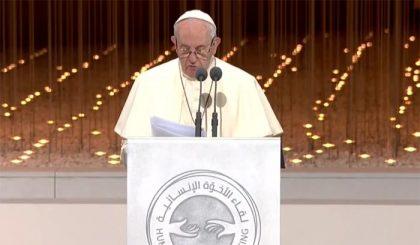 Le frasi più belle di Francesco negli Emirati